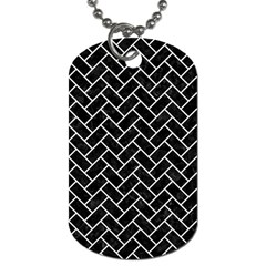 Brick2 Black Marble & White Linen (r) Dog Tag (two Sides)
