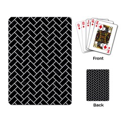 Brick2 Black Marble & White Linen (r) Playing Card