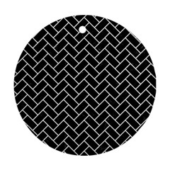 Brick2 Black Marble & White Linen (r) Round Ornament (two Sides)