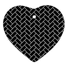 Brick2 Black Marble & White Linen (r) Heart Ornament (two Sides)