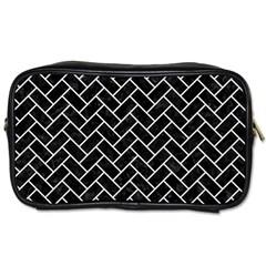 Brick2 Black Marble & White Linen (r) Toiletries Bags