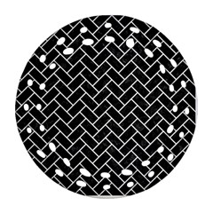 Brick2 Black Marble & White Linen (r) Ornament (round Filigree)