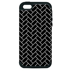 Brick2 Black Marble & White Linen (r) Apple Iphone 5 Hardshell Case (pc+silicone)