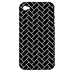 Brick2 Black Marble & White Linen (r) Apple Iphone 4/4s Hardshell Case (pc+silicone)