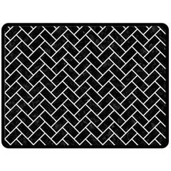 Brick2 Black Marble & White Linen (r) Double Sided Fleece Blanket (large)