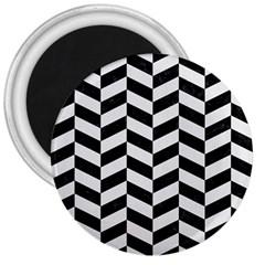 Chevron1 Black Marble & White Linen 3  Magnets