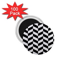 Chevron1 Black Marble & White Linen 1 75  Magnets (100 Pack)