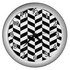 Chevron1 Black Marble & White Linen Wall Clocks (silver)