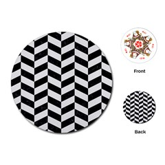 Chevron1 Black Marble & White Linen Playing Cards (round)