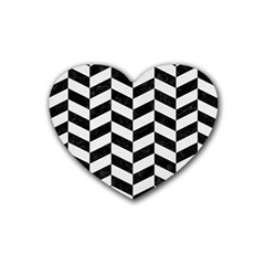 Chevron1 Black Marble & White Linen Rubber Coaster (heart)