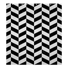 Chevron1 Black Marble & White Linen Shower Curtain 66  X 72  (large)