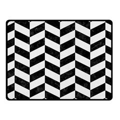 Chevron1 Black Marble & White Linen Fleece Blanket (small)