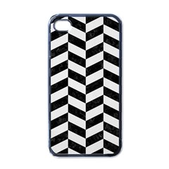 Chevron1 Black Marble & White Linen Apple Iphone 4 Case (black)