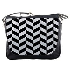 Chevron1 Black Marble & White Linen Messenger Bags