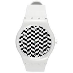 Chevron1 Black Marble & White Linen Round Plastic Sport Watch (m)