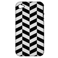 Chevron1 Black Marble & White Linen Apple Iphone 4/4s Hardshell Case (pc+silicone)