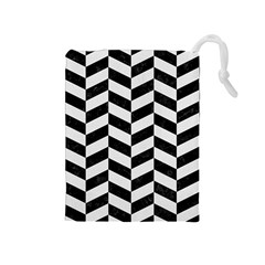 Chevron1 Black Marble & White Linen Drawstring Pouches (medium)