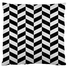 Chevron1 Black Marble & White Linen Large Flano Cushion Case (one Side)