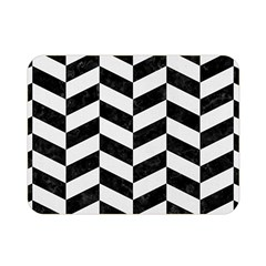 Chevron1 Black Marble & White Linen Double Sided Flano Blanket (mini)