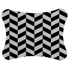 Chevron1 Black Marble & White Linen Jigsaw Puzzle Photo Stand (bow)