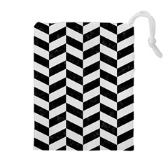 Chevron1 Black Marble & White Linen Drawstring Pouches (extra Large)