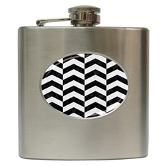 Chevron2 Black Marble & White Linen Hip Flask (6 Oz)