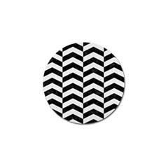 Chevron2 Black Marble & White Linen Golf Ball Marker (4 Pack)