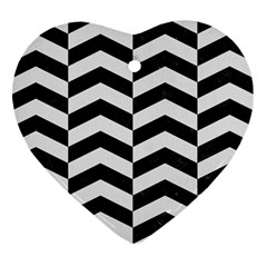 Chevron2 Black Marble & White Linen Heart Ornament (two Sides)