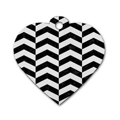 Chevron2 Black Marble & White Linen Dog Tag Heart (one Side)