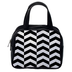 Chevron2 Black Marble & White Linen Classic Handbags (one Side)