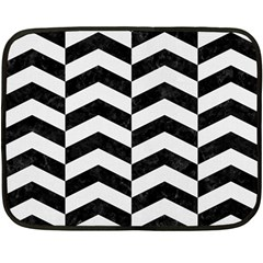 Chevron2 Black Marble & White Linen Fleece Blanket (mini)