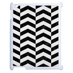 Chevron2 Black Marble & White Linen Apple Ipad 2 Case (white)