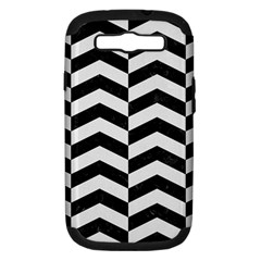 Chevron2 Black Marble & White Linen Samsung Galaxy S Iii Hardshell Case (pc+silicone)