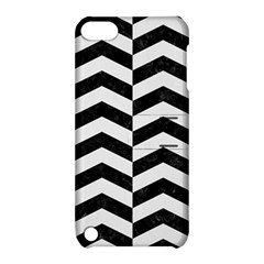 Chevron2 Black Marble & White Linen Apple Ipod Touch 5 Hardshell Case With Stand