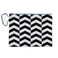 Chevron2 Black Marble & White Linen Canvas Cosmetic Bag (xl)