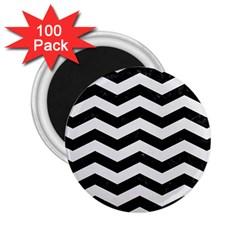 Chevron3 Black Marble & White Linen 2 25  Magnets (100 Pack)