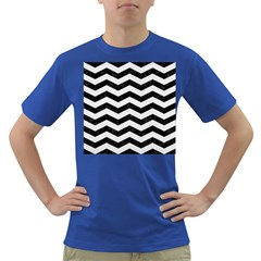 Chevron3 Black Marble & White Linen Dark T Shirt