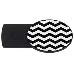 Chevron3 Black Marble & White Linen Usb Flash Drive Oval (4 Gb)