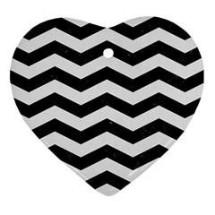 Chevron3 Black Marble & White Linen Heart Ornament (two Sides)