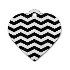 Chevron3 Black Marble & White Linen Dog Tag Heart (one Side)