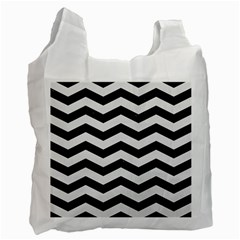 Chevron3 Black Marble & White Linen Recycle Bag (one Side)