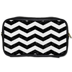 Chevron3 Black Marble & White Linen Toiletries Bags 2 Side