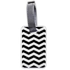 Chevron3 Black Marble & White Linen Luggage Tags (two Sides)