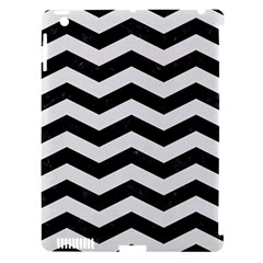 Chevron3 Black Marble & White Linen Apple Ipad 3/4 Hardshell Case (compatible With Smart Cover)
