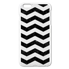 Chevron3 Black Marble & White Linen Apple Iphone 6 Plus/6s Plus Enamel White Case