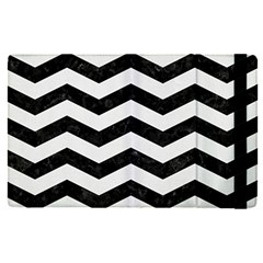 Chevron3 Black Marble & White Linen Apple Ipad Pro 12 9   Flip Case