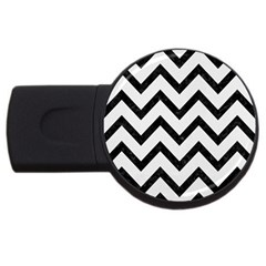 Chevron9 Black Marble & White Linen Usb Flash Drive Round (2 Gb)