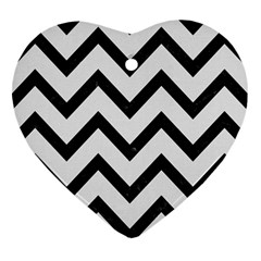Chevron9 Black Marble & White Linen Heart Ornament (two Sides)