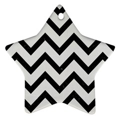 Chevron9 Black Marble & White Linen Star Ornament (two Sides)