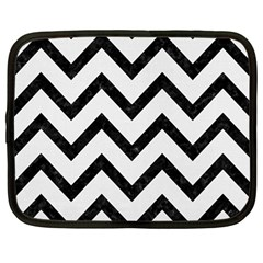 Chevron9 Black Marble & White Linen Netbook Case (large)